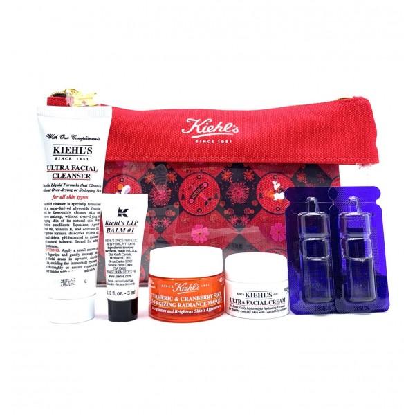 KIEHL'S 7件旅行套裝(紅色透明化妝袋)
