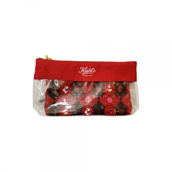 Kiehl's 紅色半透明化妝袋